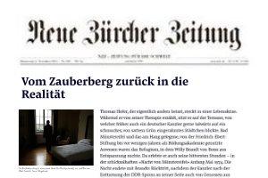 Zeitungsartikel über die Lifespring-Privatklinik in der NZZ Vom Zauberberg zurück in die Realität