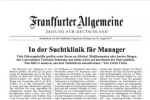 Zeitungsartikel in der FAZ zum Thema In der Suchtklinik für Manager